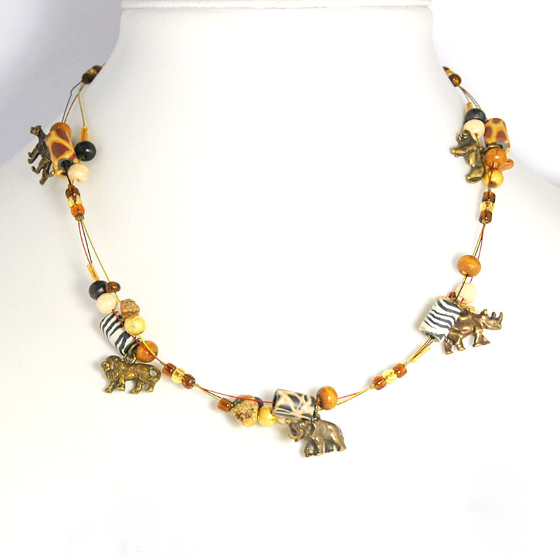 Animals Big 5 necklace with polymer clay, wood and semi-precious chips