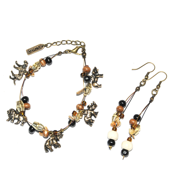 Animals Big 5 bracelet and earring set with fimo, wood and semi-precious chips