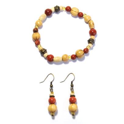 Red jasper, wood & antique brass beaded bracelet and earring set