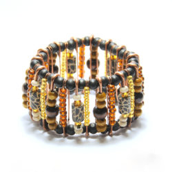 Wood, glass, animal print fimo on safety pins bracelet