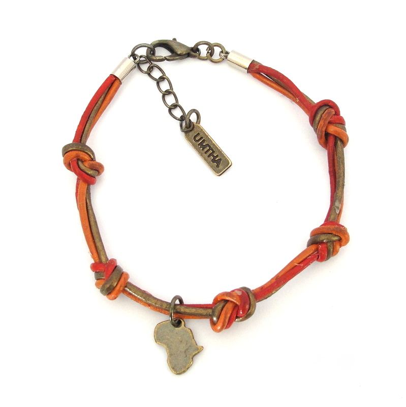 Knotted 3 colour strand leather with Antique brass Africa bracelet