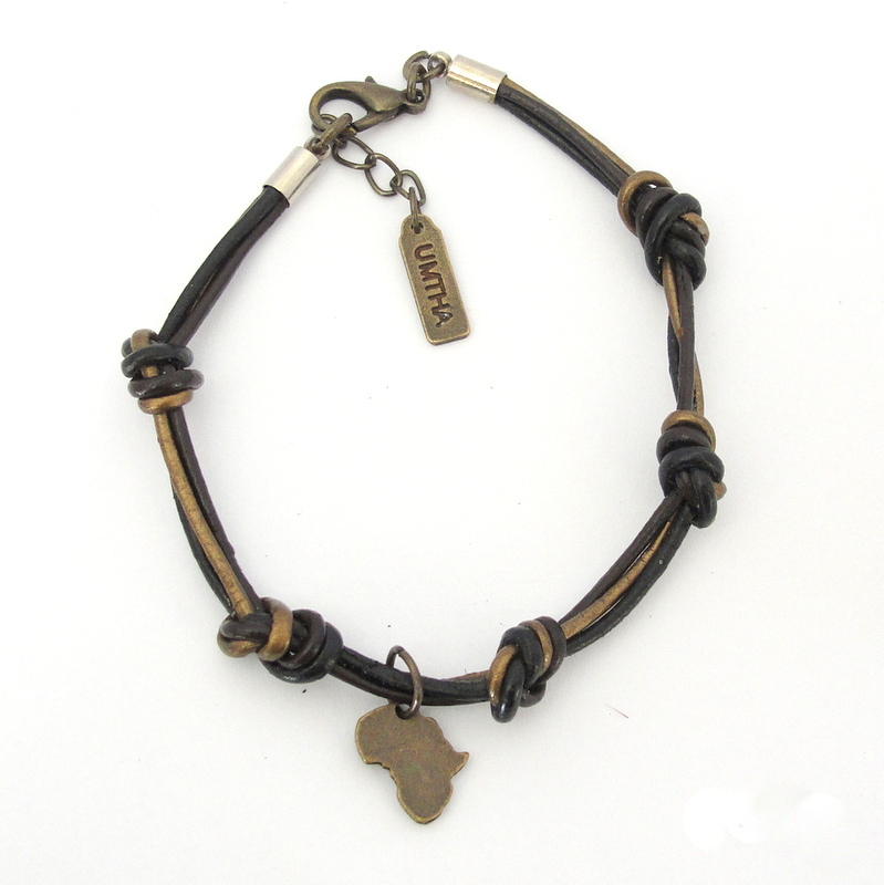 Knotted 3-strand leather with Antique brass Africa bracelet
