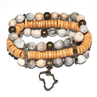 Grey seed, coconut wood & antique brass bracelet