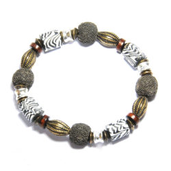 Zebraskin polymer clay, wood, lava and antique brass bracelet - BRE111