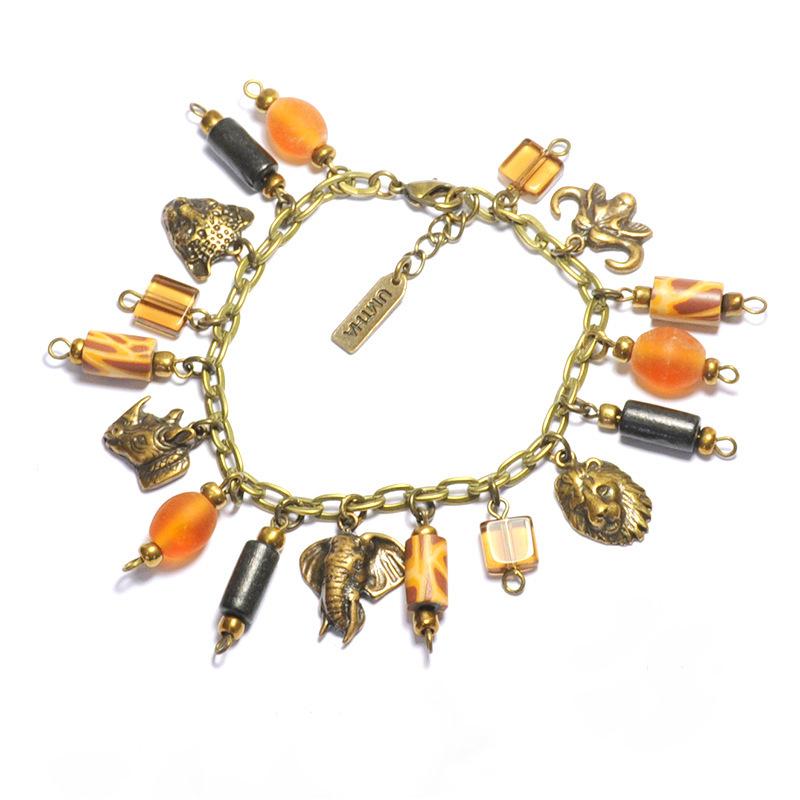 Big 5 charm with wood & glass beads bracelet - BRE72