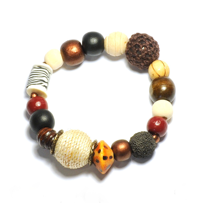 Assorted animal print polymer clay bracelet - BRE79