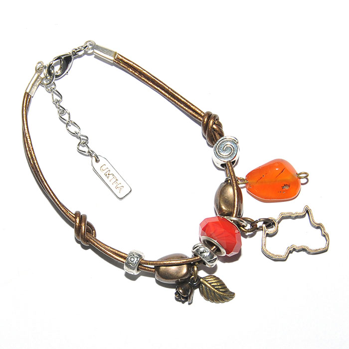Metallic bronze leather bracelet with mixed metal, carnelian & pandora bead