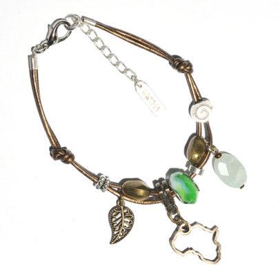 Metallic bronze leather bracelet with mixed metal, amazonite & pandora bead