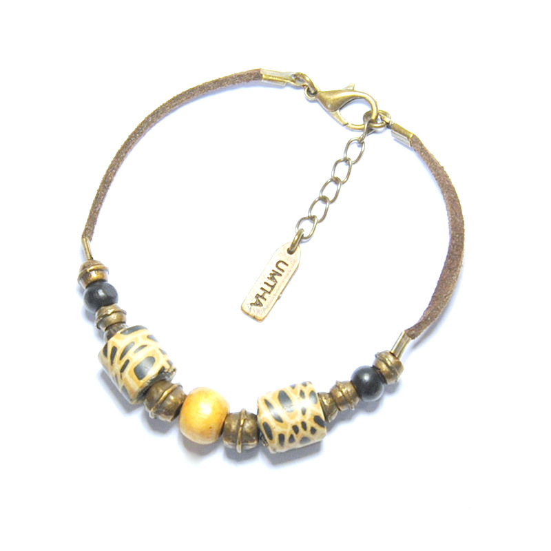 Animal skin polymer clay with bone/wood & antique brass beads on suede bracelet