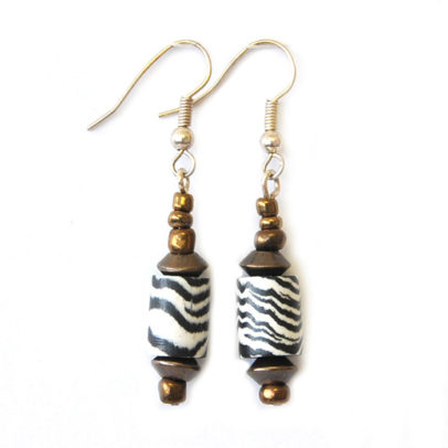 Zebraskin polymer clay and antique brass earrings - ERE111