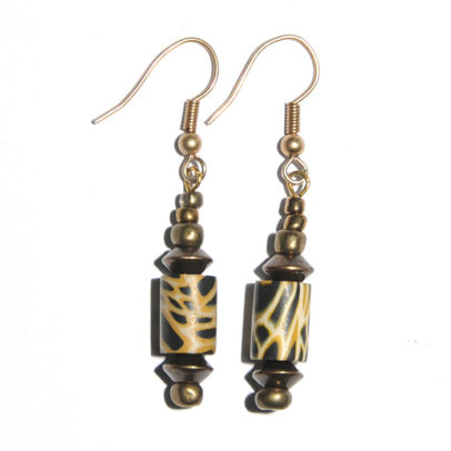 Leopard skin polymer clay and antique brass earrings