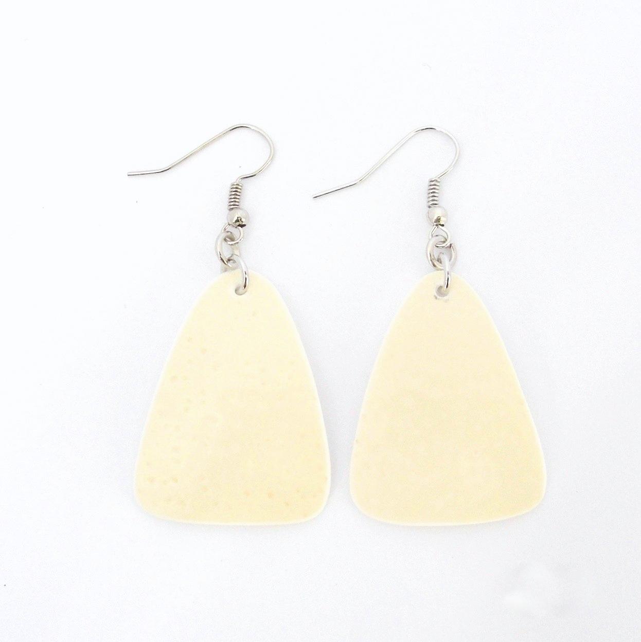 Oval ostrich shell earrings