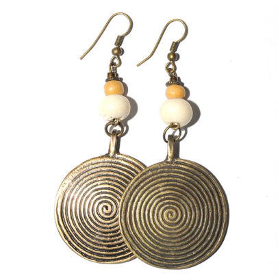 Antique brass spiral with bone & wood earrings