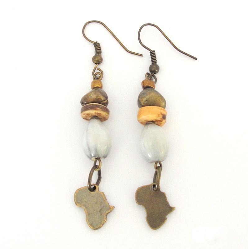 Grey seed, coconut wood & antique brass earrings
