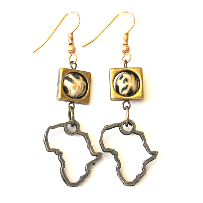 """Antique brass squares with """"leopard skin"""" earrings"""