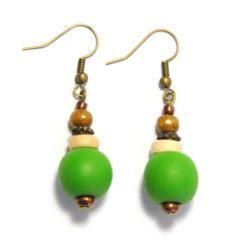 Glass, wood & antique brass earrings