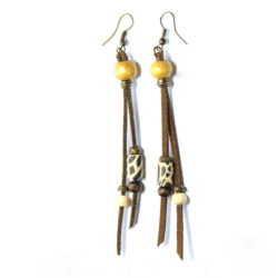 Animal skin polymer clay with bone/wood with antique brass beads earrings on suede
