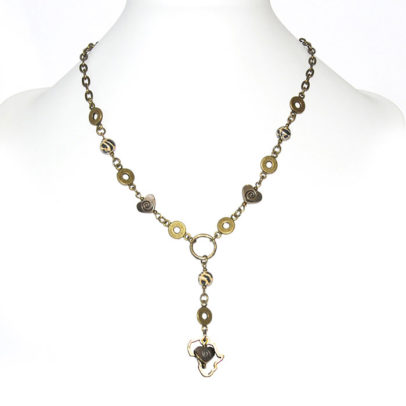 Animal skin Polymer clay necklace with antique brass hearts & Africa