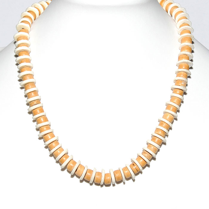 Coconut wood & ostrich shell necklace