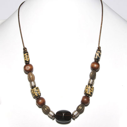 Leopardskin polymer clay, wood and antique brass on metallic leather necklace- NWE112
