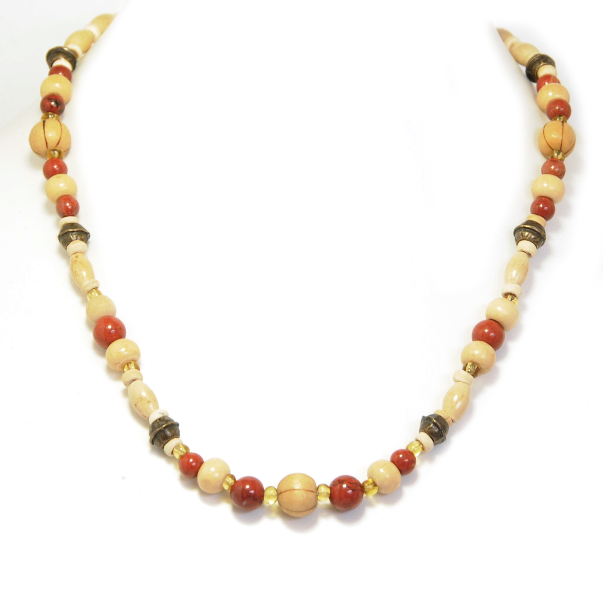 Red jasper, wood and antique brass beads necklace