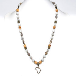 Africa charm with grey seeds, coconut wood & antique brass necklace