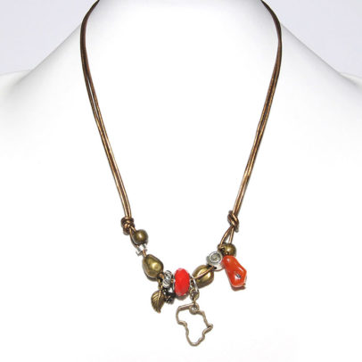 Metallic bronze leather necklace with mixed metal, carnelian & pandora bead