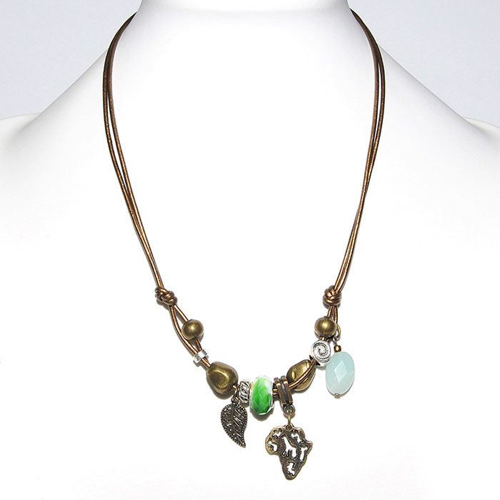 Metallic bronze leather necklace with mixed metal, amazonite & pandora bead
