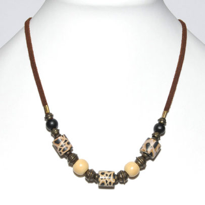 Animal skin polymer clay with bone/wood & antique brass beads on suede necklace