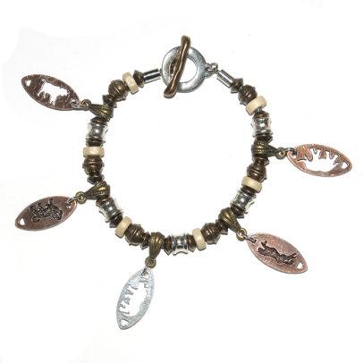 "Africa's ""Big Five"" on metal and wood beaded bracelet"