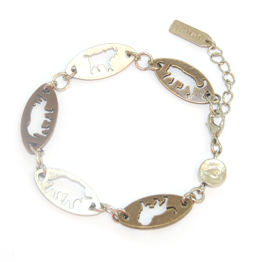 """Africa's """"Big Five"""". Cut-out metal silhouettes bracelet"""