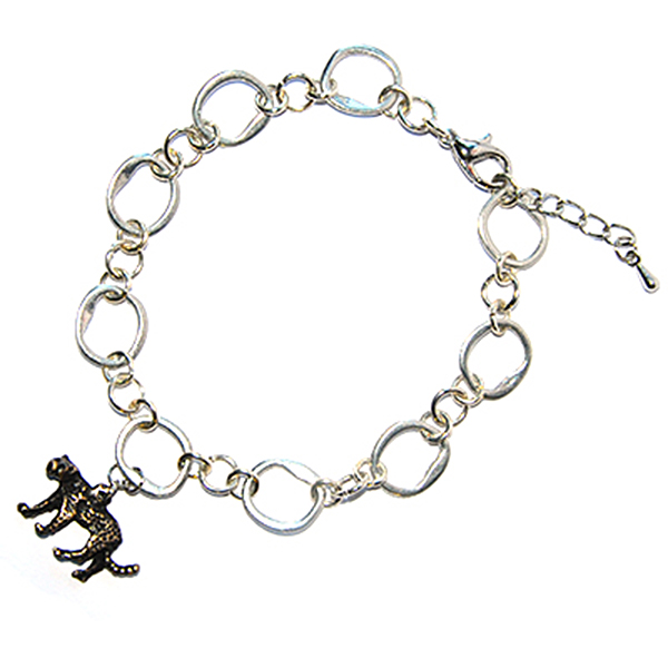 Silver colour links with cheetah bracelet