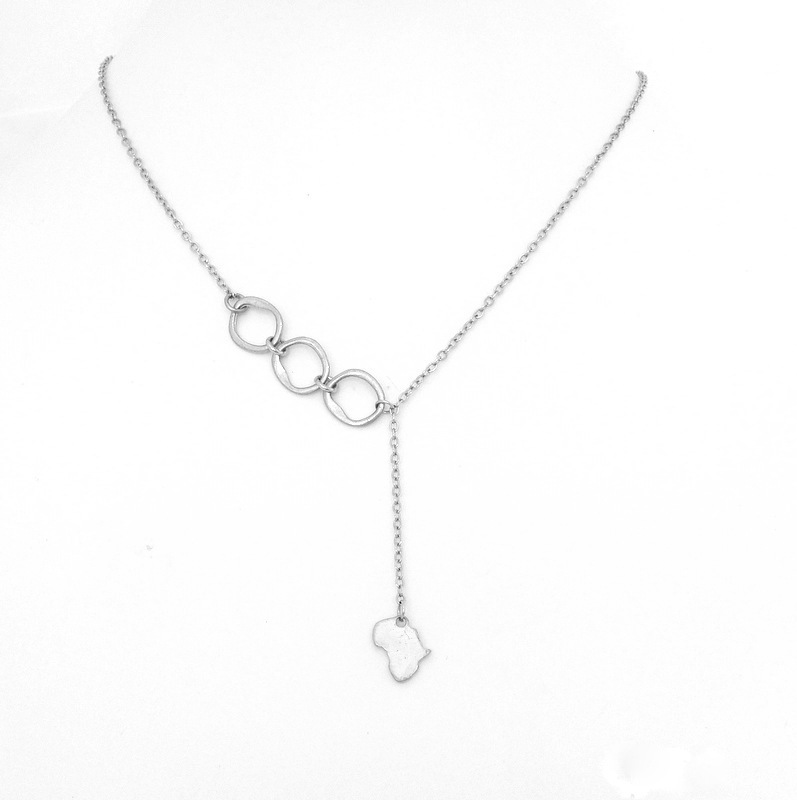 Africa Charm with links on chain necklace