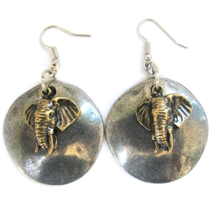 Elephants on Antique silver colour disc earrings - ERLN48