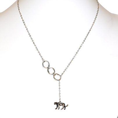 Cheetah charm on nickel free links and chain - NWE01
