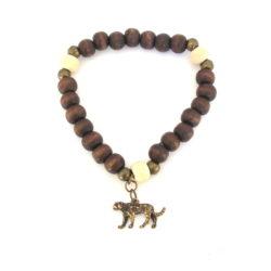 Antique brass cheetah charm bracelet - BRAC