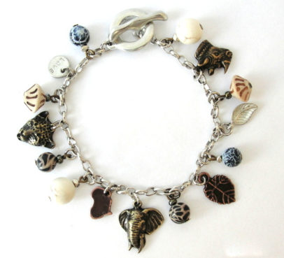 Animal charms with eclectic bead mix on antique brass chain - BRCH05