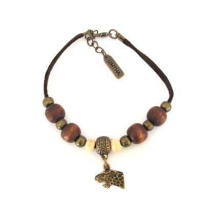 Cheetah face charm bracelet on faux suede - BRAC1