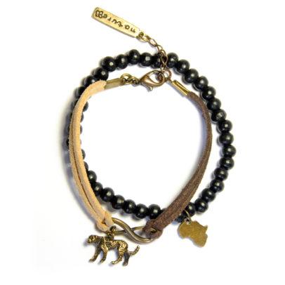Africa and Cheetah charm 2 bracelet set - BRE133C