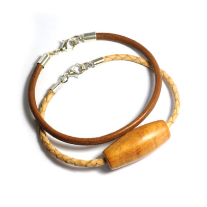 Double leather bracelet set, one plain and one braided