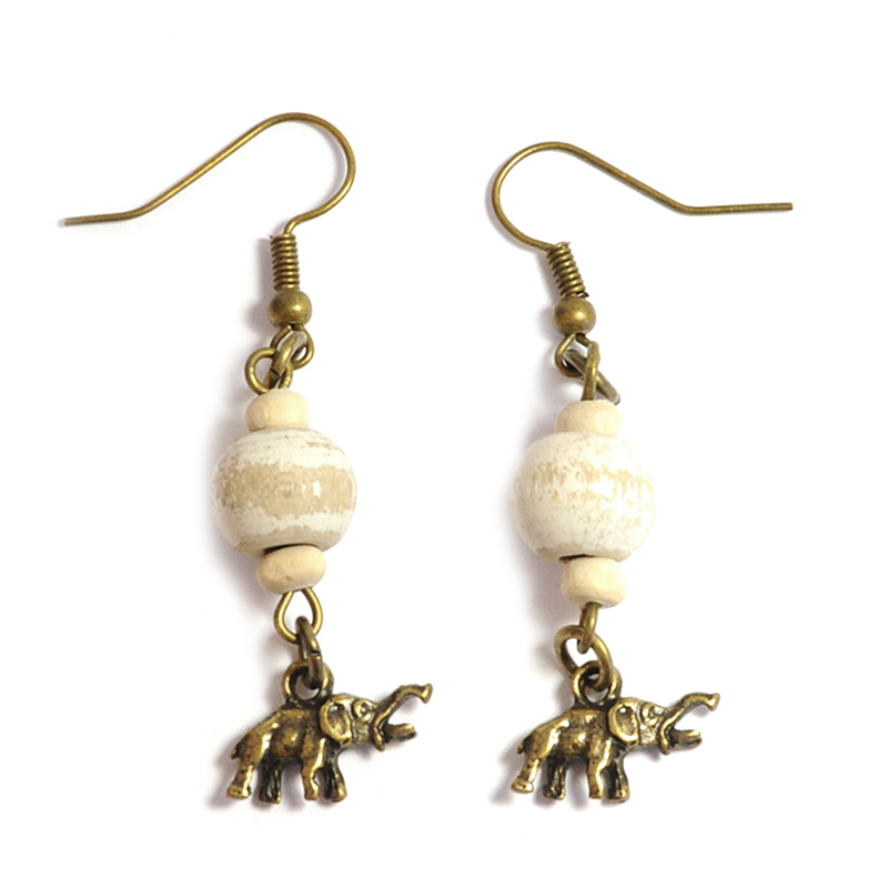 Wooden beads earrings with small elephant charm