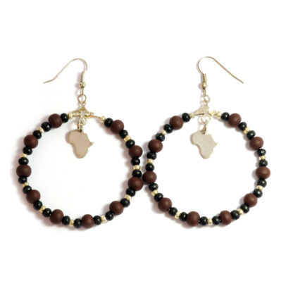 Africa charm hoops with wood and glass
