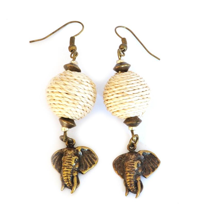 Brass elephant head earrings with sisal covered beads