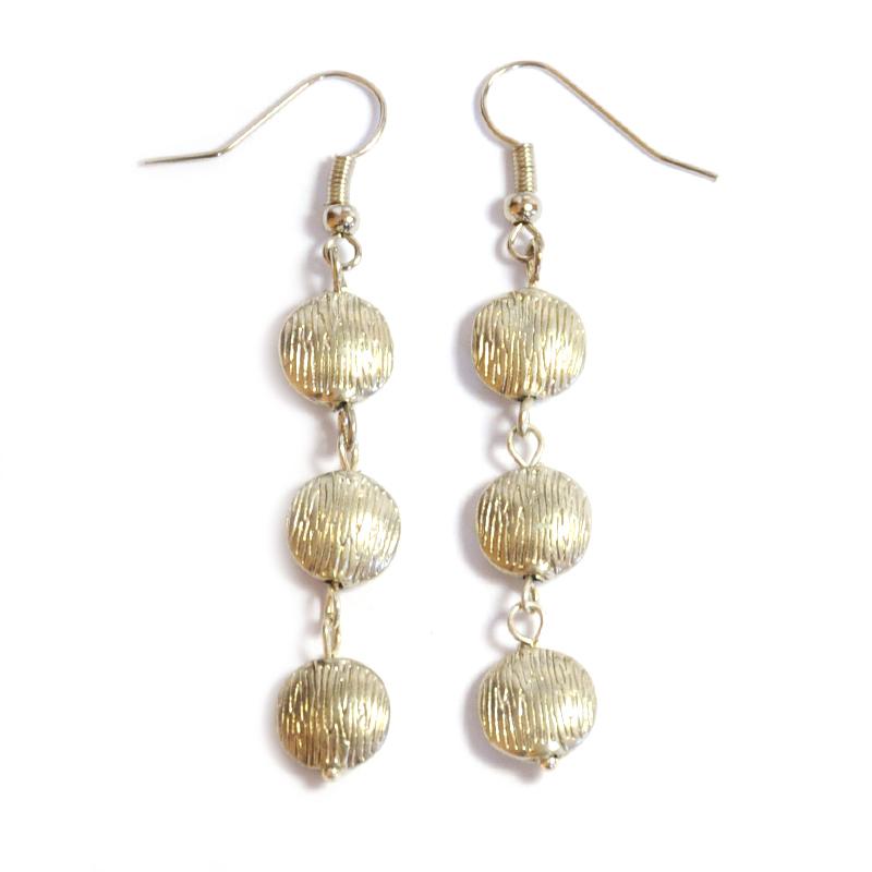 Textured silver coloured nickel free meta earrings.