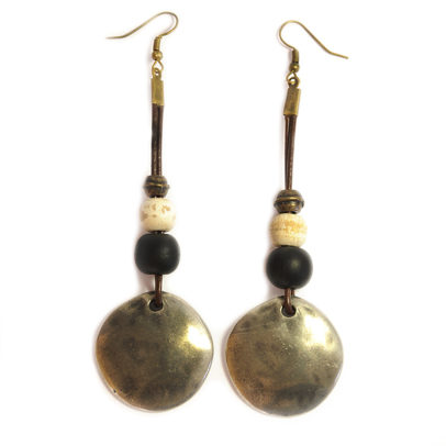 Rustic earrings wood and antique brass bead earrings accentuating the pewter coloured discs on leather