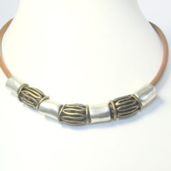 Leather necklace with stunningly textured metal beads