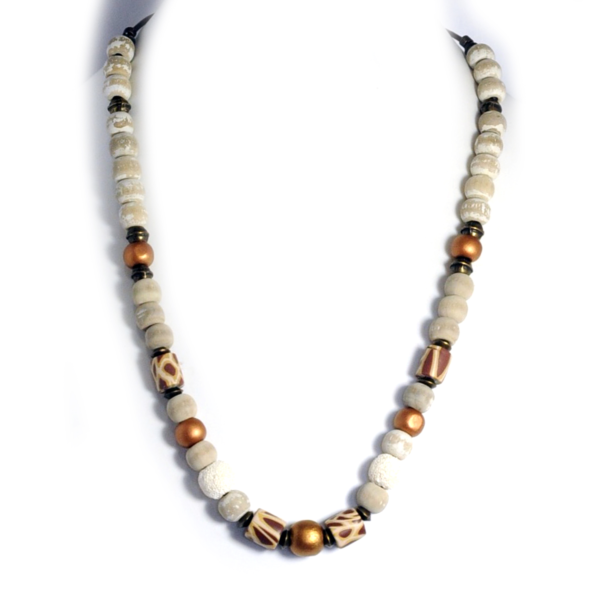 Bronze metallic leather necklace featuring wood, lava stone, and polymer clay