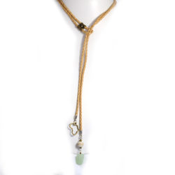 Aventurine stone and Africa charm with wood on a braided leather lariat