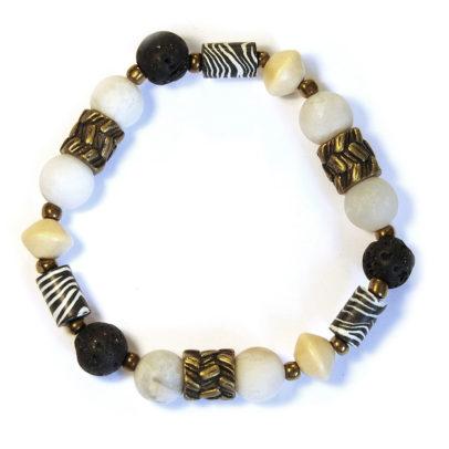 Zebra pattern polymer clay bracelet with antique brass - BRE181F