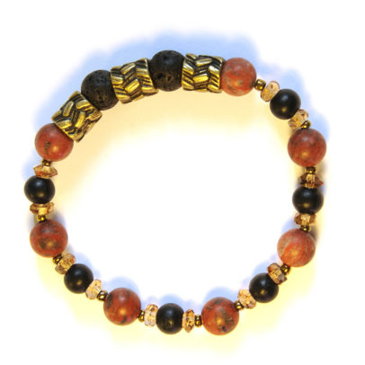 Antique brass feature highlighting sesame jasper, wood and lava stone bracelet
